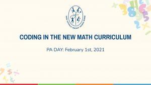 Coding in New Math Curriculum
